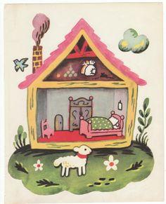 Cottage and lamb vintage nursery print 1951 children book by Francoise little house illustration