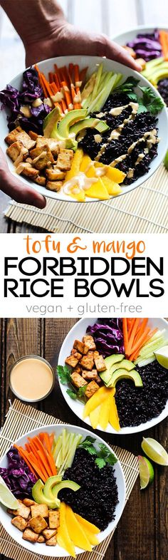 Full of wholesome ingredients, these Tofu & Mango Forbidden Rice Bowls are a nutritious dinner that makes great leftovers for lunch. Vegan & gluten-free!