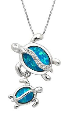 """Mom and Baby Turtle Sterling Silver Synthetic Blue Opal Necklace Pendant with 18"""" Box Chain Honolulu Jewelry Company http://www.amazon.com/dp/B0072NPHE2/ref=cm_sw_r_pi_dp_Bo3yvb18G5MHM"""