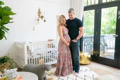 Christina & Ant Anstead's New Home | Christina on the Coast | HGTV Nursery Pictures, Home Pictures, Bamboo Roof, Wood Plank Ceiling, Upstairs Loft, Neutral Color Scheme, Grey Trim, Modern Dresser, Boho Nursery