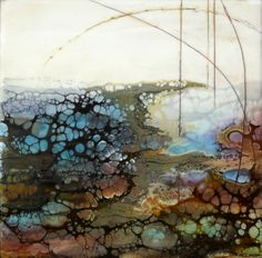 Alicia Tormey / Geode II,  Encaustic, mixed media on panel  >> Reminds me of butterfly wings