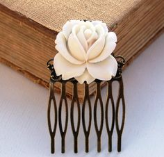Hair Comb White Hair Comb Cream White Rose Hair Comb  Antique Victorian Style Bridal Jewelry on Etsy, $29.00