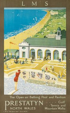Vintage seaside posters up for auction Posters Uk, Railway Posters, Illustrations And Posters, Vintage Maps, Vintage Travel Posters, A4 Poster, Poster Prints, Poster Wall, Wales Mountains
