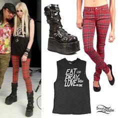 """Recently it seems that Taylor Momsen's taste in footwear has gotten less stripper-chic and more gothic. She has worn this pair of New Rock 189 Black Platform Boots a few times. At a recent photoshoot she wore them with T Back Jeans in Red Plaid Print by Tripp NYC ($66.00) and The Eat Pray Love Tee from UNIF ($67.00). UNIF is know for their provocative tees (Brenda Song recently wore a Nazi parody tee which I find incredibly distasteful), and this tee reads """"Eat LSD, Pray to Satan, Love No…"""