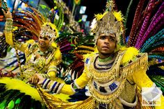 The flag bearer and the master of ceremony of Imperatriz samba school perform during the... © Jan Socho