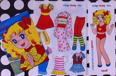 Kawaii vintage deadstock CANDY CANDY paper doll and anime manga (cartoon) book and a postcard by anatimecapsule on Etsy