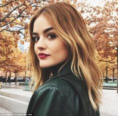 Pumpkin spice: Her hairstylist Kristin Ess called this amber and golden shade, 'fall blend...
