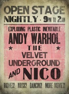 Gig poster for The Exploding Plastic Inevitable featuring Andy Warhol, Velvet Underground and Nico