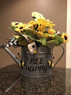 Excited to share this item from my shop: Bee Centerpiece, Bee centerpiece for table. Table centerpiece, Summer centerpiece, watering can centerpiece, Sunflower centerpiece Sunflower Centerpieces, Summer Centerpieces, Watering Can Centerpieces, Sunflower Party, Bee Skep, Bee On Flower, Girl Birthday Themes, Bee Art, Bee Crafts