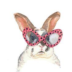 Rabbit Watercolor Painting - Original Bunny Art, Rabbit Illustration, Polka Dots, Pink glasses (1,175 THB) found on Polyvore