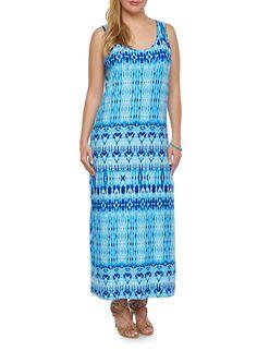 Plus Size Printed Maxi Dress - Rainbow - 0390038346741