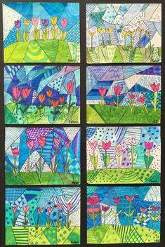 Spring Art Gallery: Children's Art (Grade ONEderful) – … Spring Art Gallery: Kinderkunst (Klasse ONEderful) – Art Floral, Arte Elemental, Classe D'art, Spring Art Projects, Kindergarten Art, Art Classroom, Classroom Art Projects, Simple Art, Easy Art