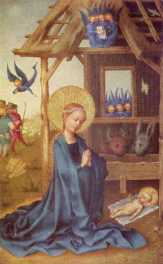 Adoration of the Christ Child by the Virgin - Stefan Lochner - Alte Pinakothek, Munich Jan Van Eyck, Catholic Art, Religious Art, Robert Campin, Medieval Paintings, Three Wise Men, Madonna And Child, Blessed Mother, Gothic Art