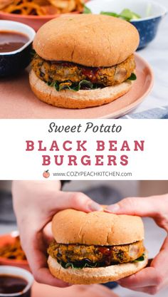 These vegetarian sweet potato burgers are the perfect weeknight dinner recipe-- and they are so easy to make! Vegetarian Comfort Food, Easy Vegetarian Dinner, Burger Recipes, Vegan Recipes, Vegan Food, Sweet Potato Burgers, Peach Kitchen, Burger Meat, Black Bean Burgers