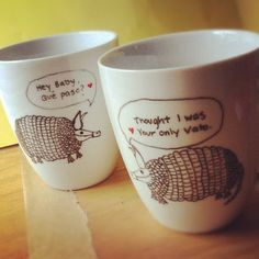 ArQue Paso Vato Armadillo Mug Set.  via Etsy.