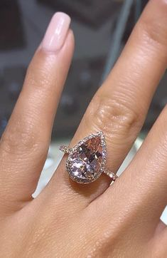 20 Affordable Engagement Rings + Size/Shape Guides To Assist You In Making The Perfect Selection — Style Estate Engagement Ring Pictures, Pear Shaped Engagement Rings, Engagement Ring Shapes, Dream Engagement Rings, Classic Engagement Rings, Halo Engagement, Pear Shaped Rings, Morganite Engagement Ring Pear, The Bling Ring
