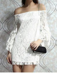 $12.52 Ladylike Boat Neck Off-The-Shoulder Trumpet Sleeve White Lace Dress For Women