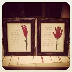 """Valentines day """"roses"""" from hand & foot prints - Valentines day gifts for gparents"""