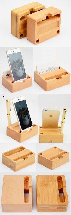 Wooden   Pen Pencil Holder Stand iPhone Smart Phone Holder Dock  Business Card Display Stand Holder Office Desk Supplies Stationary Organizer