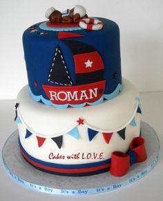 nautical theme baby shower cake for tina Baby Cakes, Baby Shower Cakes, Pink Cakes, Cupcakes, Cupcake Cakes, Shoe Cakes, Sailor Cake, Happpy Birthday, Birthday Cake