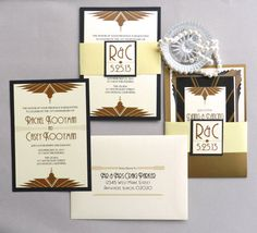 Art Deco Fans Invitation with Panel Pocket