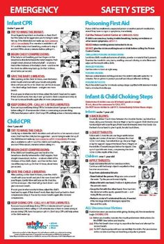 Infant & Child - CPR, Choking & Poisoning First Aid - Safety Poster 12x18 - 2015 Guidelines