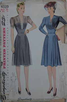 Simplicity 4339 ©1942 Women's Dress. The bodice is gathered to a shaped yoke and the V-shaped neckline may be trimmed with dainty lace or fastened with a clip. The skirt is gathered at the side fronts below yoke extensions and joins the bodice of the natural waistline under a belt. Make the sleeves long and fitted, or short and lace-trimmed.    Duette worn as a brooch