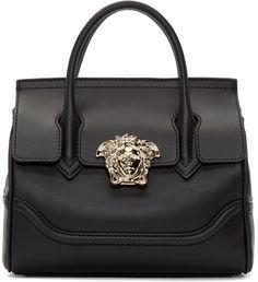 Versace Black Medium Palazzo Bag // as seen on Gigi hadid (multiple occasions). Versace Purses, Versace Handbags, Versace Bag, Fashion Handbags, Versace Backpack, Soft Leather Handbags, Studded Handbags, Studded Purse, Leather Bag
