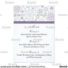 purple gray snowflake winter wedding menu cards purple gray snowflake mod elegant winter wedding menu cards. Matching products also available.