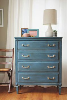 Aubusson Blue Chalk Paint® dresser project by A Simpler Design