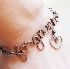 Oxidized. Copper. Wirewrapped. Forgiven. Heart.  Bracelet.. $44.00, via Etsy.
