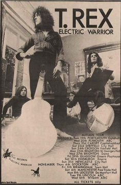 t rex electric warrior poster Tour Posters, Band Posters, Music Posters, Pop Rock, Rock N Roll, St Georges Hall, Electric Warrior, Marc Bolan, We Will Rock You