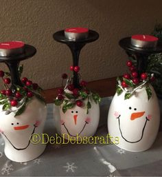 Snowman wine glass candle holder Christmas wine by DebDebsCrafts