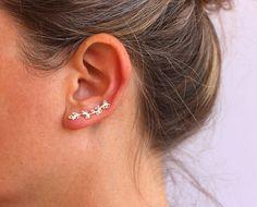 Joyería de plata cadenas de oído, plata pun ¢ o de la oreja, naturaleza, trepador de la oreja.  hermosa y delicada plata deja trepador de oído!