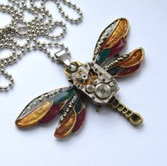 1 pcs Necklace Dragonfly  original by steampunkerstudio on Etsy