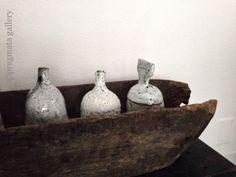 """Bottle Line""  Bottles and jar by Jane Wheeler.  ジェーン・ウィラーさんの瓶です。"