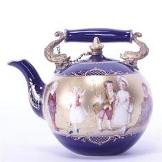Royal Vienna Handpainted Porcelain Cobalt Warbung Teapot signed Kramer. Lot 34