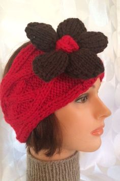 Red Ear Warmer Red Head Band Red Headband Flower Head Band Flower Ear Warmer Flower Headband - pinned by pin4etsy.com