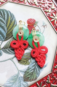 Jade with Red Chinese Knots Dangle Earrings by CungYung on Etsy, $20.00