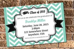 This adorable invitation is a great start to your graduation celebration!  **Visit my Etsy shop for other great graduation items:
