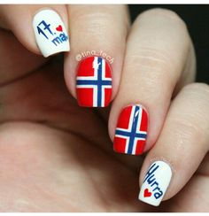 Norwegian Constitution Day, Norways national day with a special mani with the Norwegian flag. Hetalia, European Flags, European Countries, Chelsea Houska Hair, Norwegian Flag, Country Nails, Flag Nails, Norway Flag, Constitution Day