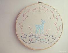 Nursery Art Woodland Deer Personalized Name Polka Dot Vintage Floral Ring Children Kids Wall Art Name Sign