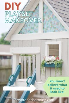 Our playset makeover! Great playset ideas for your next DIY project. Playset plans can be hard to decide on, so this can help inspire you! #playsetoutdoordiy #playsetoutdoor #playsetplans #playsetideas #playsetmakeover #soontobecharming Diy On A Budget, Diy Kitchen, Easy Diy, Home Improvement, Diy Projects, The Incredibles, Inspire, Outdoor Structures, Painting