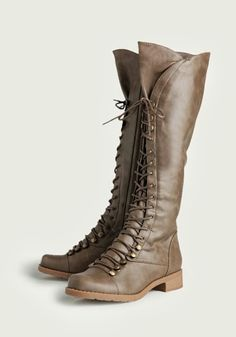 at Ruche // taupe lace up boots