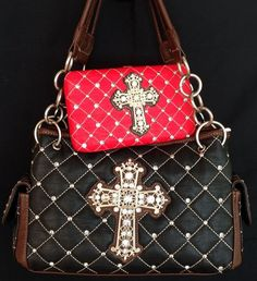 Montana West Rhinestone Cross Handbag Purse & Wallet Set - Black / Red
