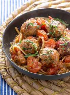 Make homemade tomato sauce and pair it with linguine and traditionally-seasoned turkey meatballs. It's a quick, authentic meal.