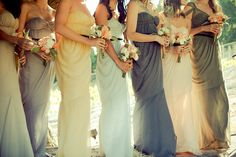 It's no secret that I prefer mismatched bridesmaids dresses for my couples. I love the uniqueness of each lady wearing something that flatters her perfectly, and that she can ultimately choose a gown that can be worn again. The variation of colours also adds interest to the party, contrast in the photos and always keeps the guests talking.