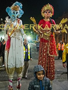 DIWALI STILTS 2018 Parade As always they were great and the members of the public really enjoyed them! London Brighton, London Manchester, Corporate Entertainment, Party Entertainment, Indian Party Themes, Stilt Costume, Costume Ideas, Costumes, Diwali Celebration