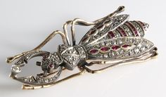 Antique Bug Brooch | Diamond Ruby 14K Gold | Insect Beetle Russian from The Gryphon's Nest at RubyLane.com