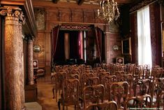 Another room in Peles Castle in Romania, look at the wooden columns on the left and the archway in the back of the room, all fantastic. Wooden Columns, Peles Castle, Victorian Vampire, Palace Interior, Beautiful Castles, Concert Hall, Picture Video, Opera House, The Good Place